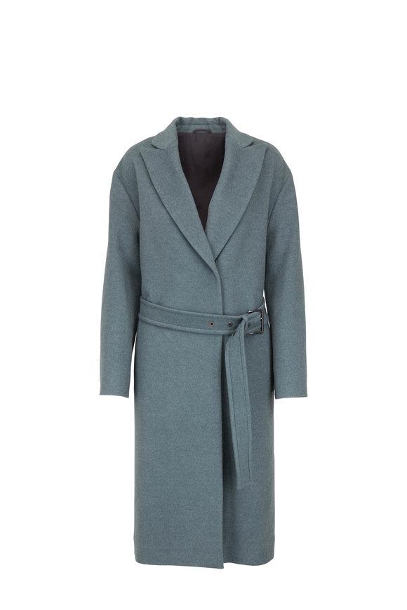 Brunello Cucinelli Sage Wool & Cashmere Belted Coat