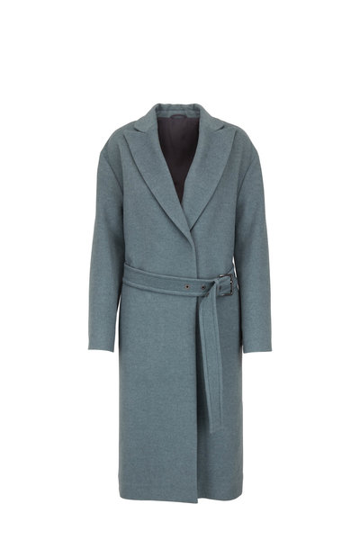 Brunello Cucinelli - Sage Wool & Cashmere Belted Coat