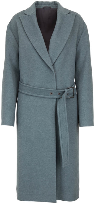 Brunello Cucinelli Sage Wool & Cashmere Belted Coat