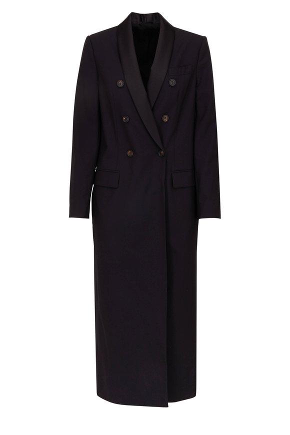 de841f2226e08e Brunello Cucinelli Black Stretch Wool Double-Breasted Coat