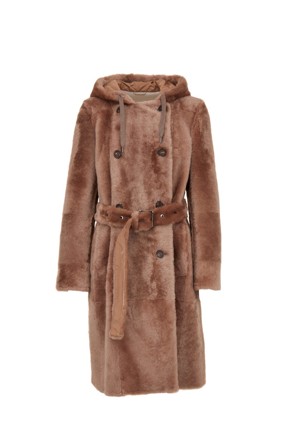 Brunello Cucinelli Caribou Shearling Hooded Coat