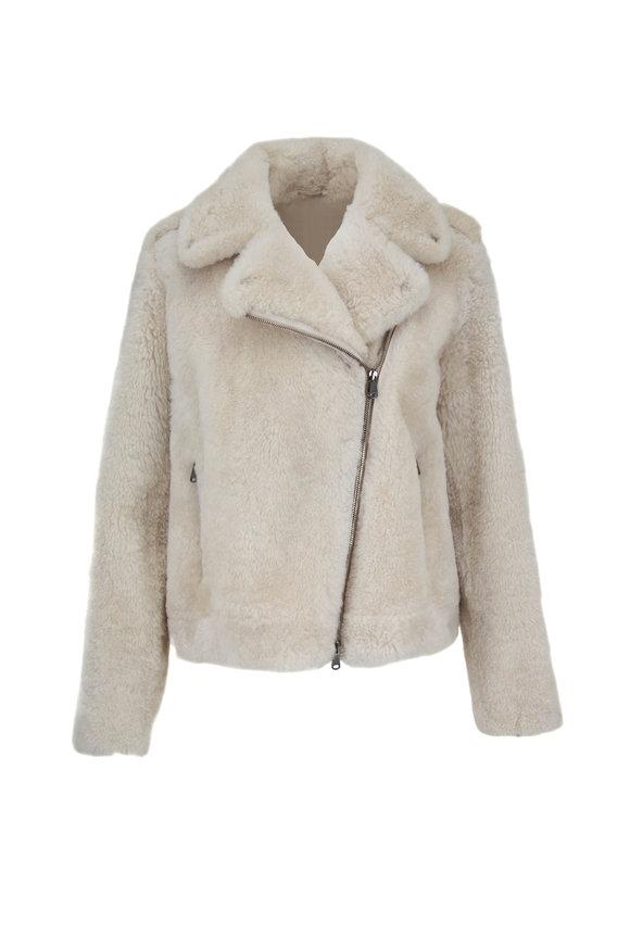 Brunello Cucinelli Ice Cashmere Fur Moto Jacket