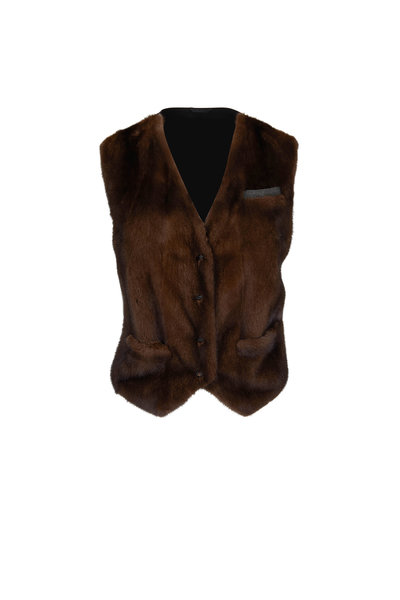 Brunello Cucinelli - Mink Front Monili Pocket Vest