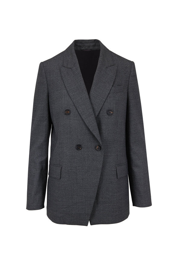 Brunello Cucinelli Gray & Black Virgin Wool Houndstooth Jacket