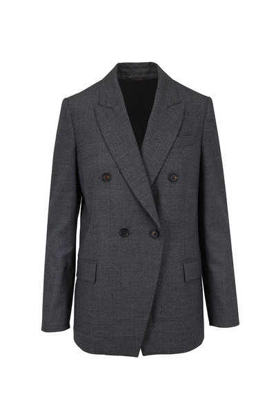 Brunello Cucinelli - Gray & Black Virgin Wool Houndstooth Jacket
