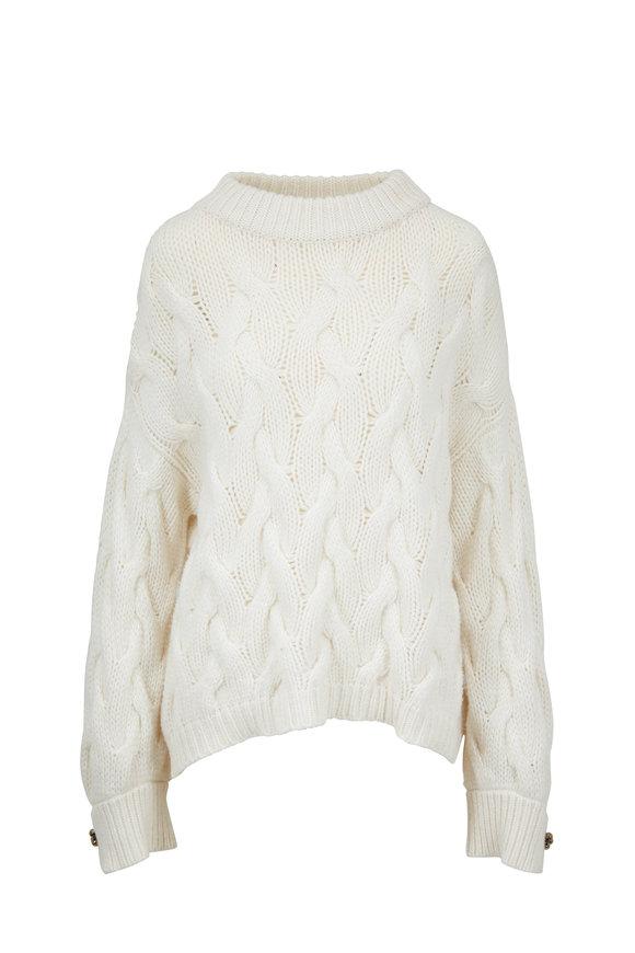 Brunello Cucinelli Winter White Cashmere Jumbo Cable Knit Sweater