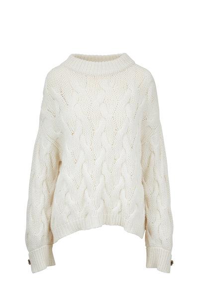 Brunello Cucinelli - Winter White Cashmere Jumbo Cable Knit Sweater