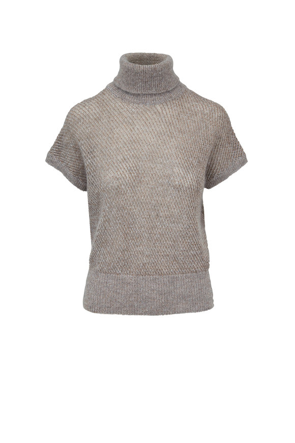 Brunello Cucinelli Pebble Mohair & Lurex Open Weave Sweater