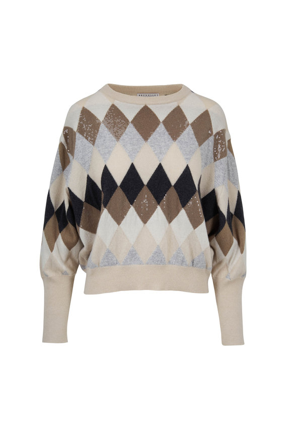 Brunello Cucinelli Oat Cashmere Argyle Sweater