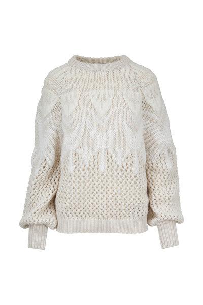 Brunello Cucinelli - White Cashmere Hand Knit Intarsia Sweater