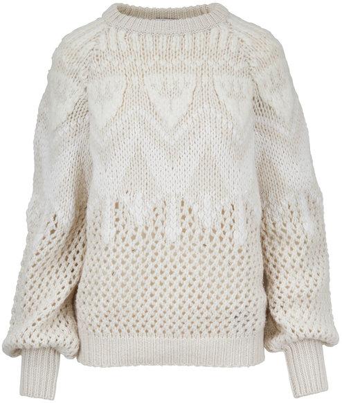 Brunello Cucinelli White Cashmere Hand Knit Intarsia Sweater