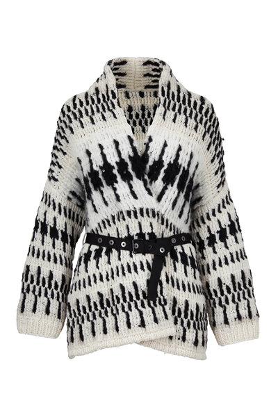 Brunello Cucinelli - Black & White Aztec Cashmere Belted Cardigan