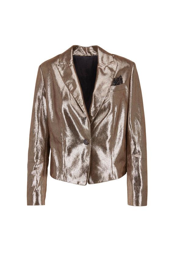 Brunello Cucinelli Military Metallic Crackled Leather Jacket