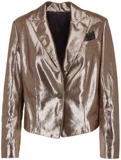Brunello Cucinelli Military Metallic Crackled Leather Jacket