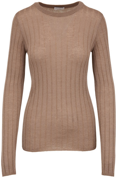 Brunello Cucinelli Caribou Wide Ribbed Fitted Sweater