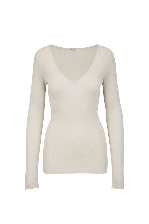 Brunello Cucinelli Light Gold Lurex Tissue Thin V-Neck Sweater