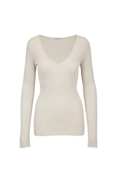 Brunello Cucinelli - Light Gold Lurex Tissue Thin V-Neck Sweater