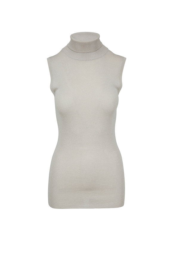Brunello Cucinelli Light Gold Lurex Tissue Thin Sleeveless Turtleneck