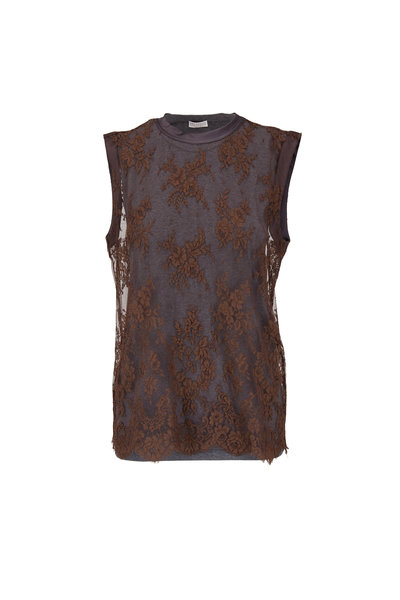 Brunello Cucinelli - Brown & Gray Lace Overlay Sleeveless Top