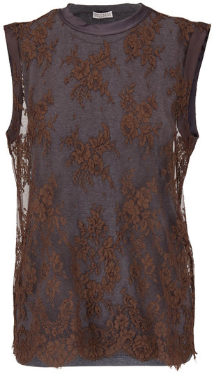 Brunello Cucinelli Brown & Gray Lace Overlay Sleeveless Top