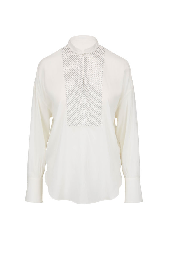 Brunello Cucinelli White Silk Collarless Monili Panel Henley