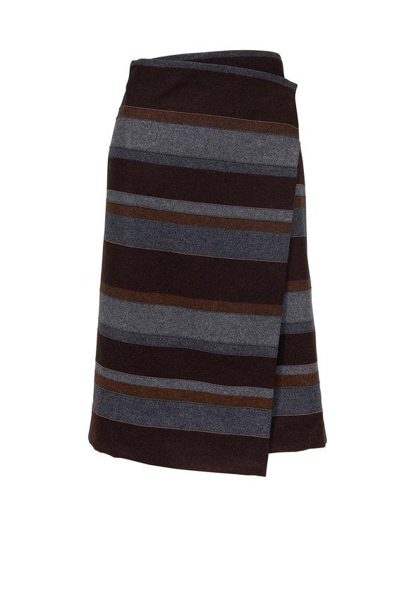 600057b22b Brunello Cucinelli - Smoke Suede Asymmetric Midi Skirt | Mitchell Stores