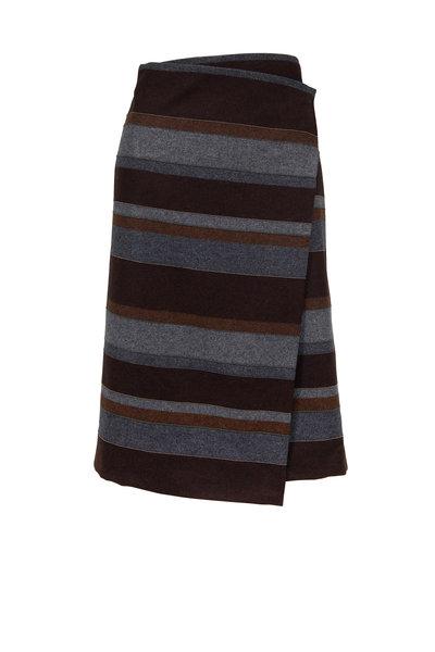 Brunello Cucinelli - Brown & Gray Wool Monili Stripe Wrap Skirt