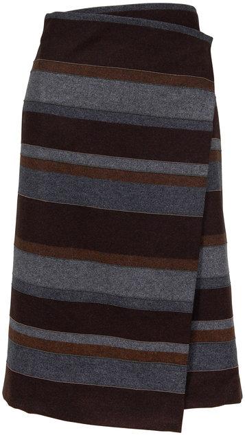 Brunello Cucinelli Brown & Gray Wool Monili Stripe Wrap Skirt