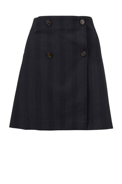 Brunello Cucinelli - Anthracite Wool Tonal Vertical Striped Skirt