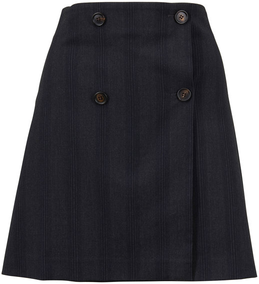 Brunello Cucinelli Anthracite Wool Tonal Vertical Striped Skirt