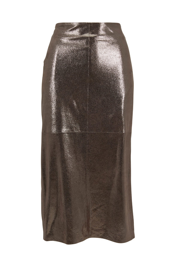 Brunello Cucinelli Silver Metallic Crackled Leather Skirt