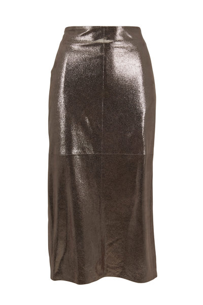 Brunello Cucinelli - Silver Metallic Crackled Leather Skirt