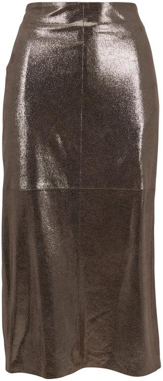 Brunello Cucinelli Silver Metallic Crackled Leather Skirt