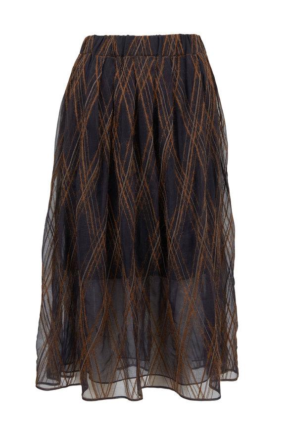 Brunello Cucinelli Volcano Monili & Mohair Argyle Skirt