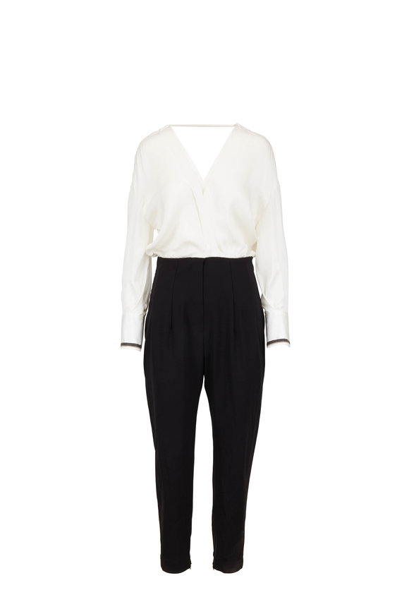 Brunello Cucinelli Black & White Silk Double V-Neck Jumpsuit