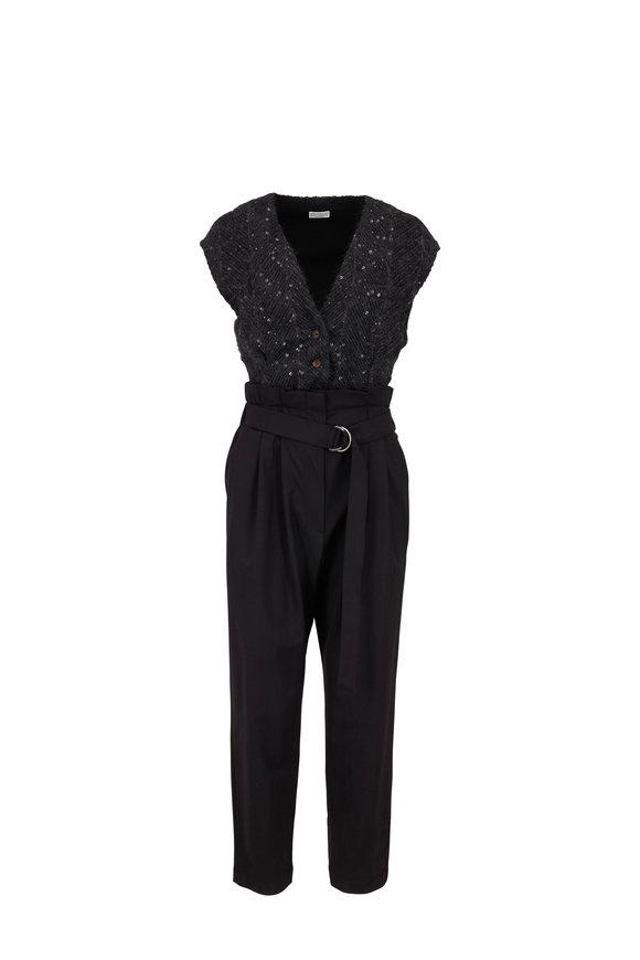 Brunello Cucinelli Exclusively Ours! Black Chevron Paillette Jumpsuit