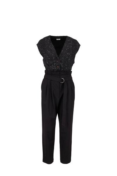 Brunello Cucinelli - Exclusively Ours! Black Chevron Paillette Jumpsuit