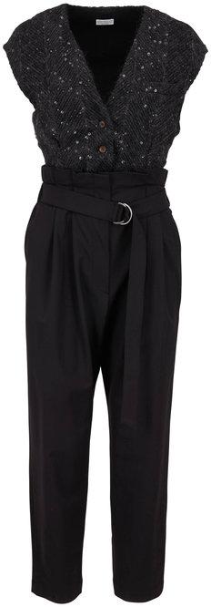 Brunello Cucinelli Exclusively Ours! Black Chevron Paillette Jumpsuit
