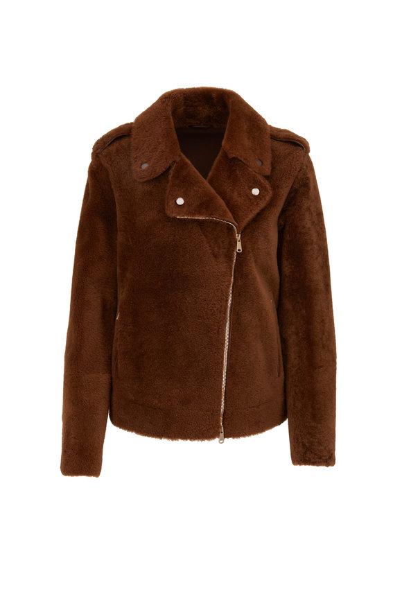 Brunello Cucinelli Tobacco Shearling Moto Jacket