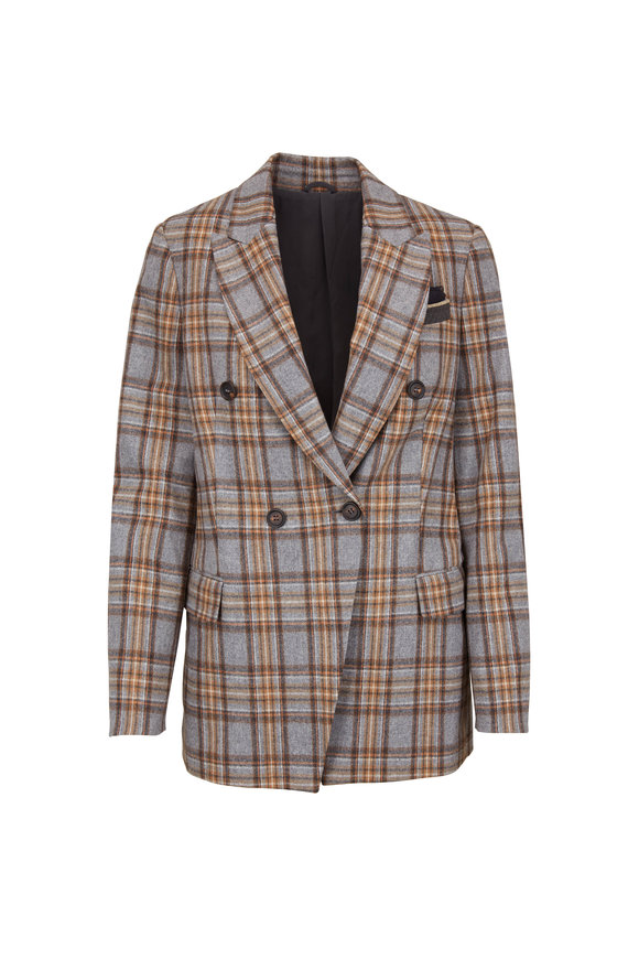 Brunello Cucinelli Pebble Stretch Wool Plaid Double-Breasted Jacket