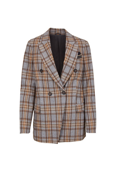 Brunello Cucinelli - Pebble Stretch Wool Plaid Double-Breasted Jacket