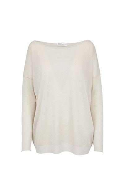 Brunello Cucinelli - Light Gold Lurex Tissue Thin Boatneck Sweater
