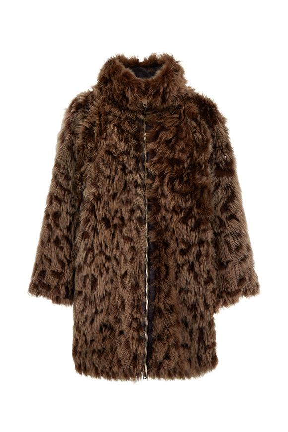 Brunello Cucinelli Caribou Leopard Cut Reversible Fur Coat
