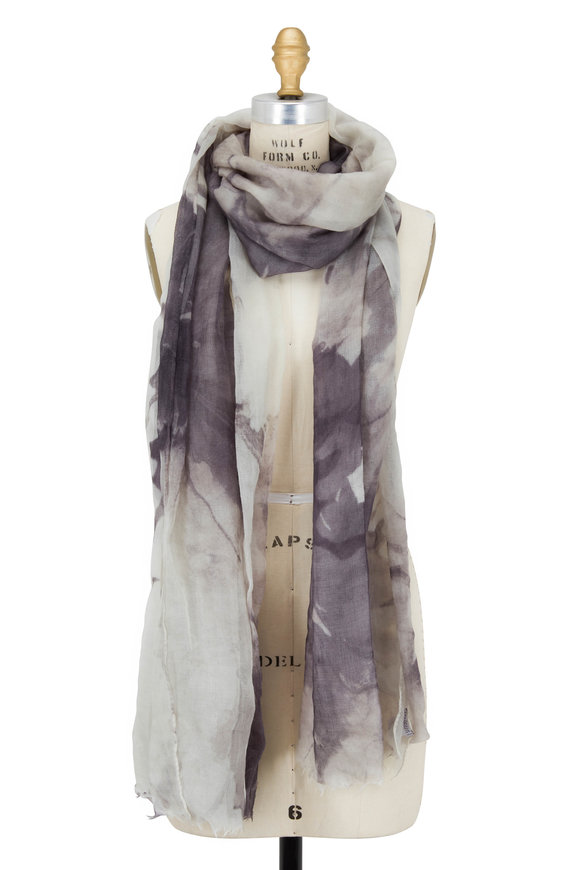 Brunello Cucinelli Ivory & Volcano Cashmere Floral Scarf
