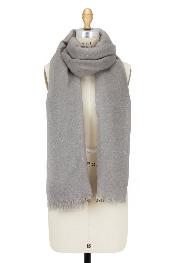 Brunello Cucinelli Gray Silk & Mohair Mini Paillette Scarf