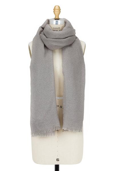 Brunello Cucinelli - Gray Silk & Mohair Mini Paillette Scarf