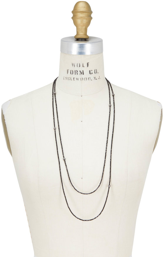 Brunello Cucinelli Black Diamante Convertible Wrap Necklace
