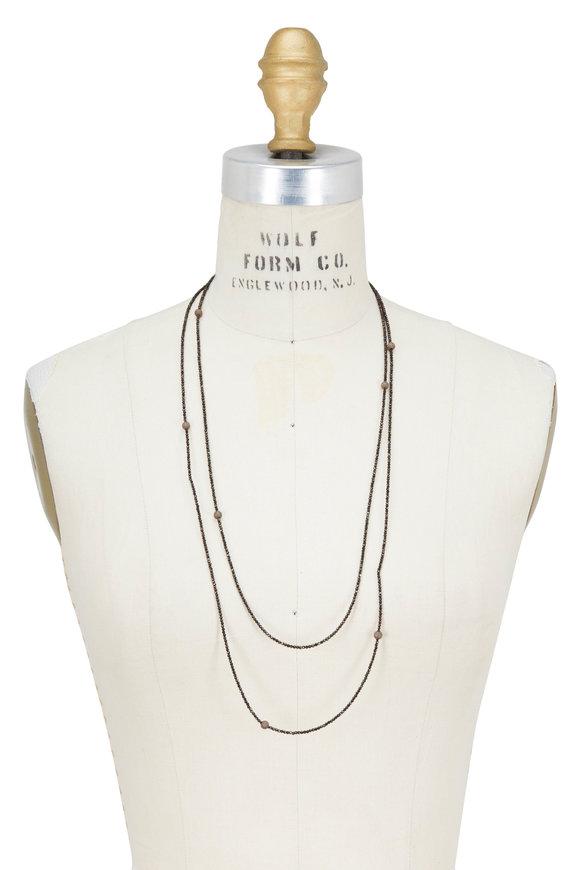Brunello Cucinelli Brown Diamante Beaded Wrap Bracelet