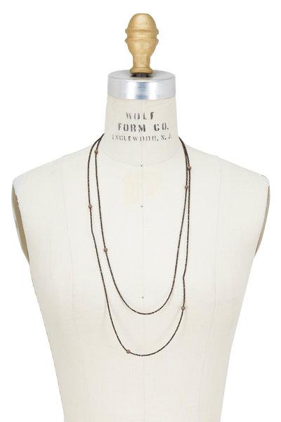 Brunello Cucinelli - Brown Diamante Beaded Wrap Bracelet
