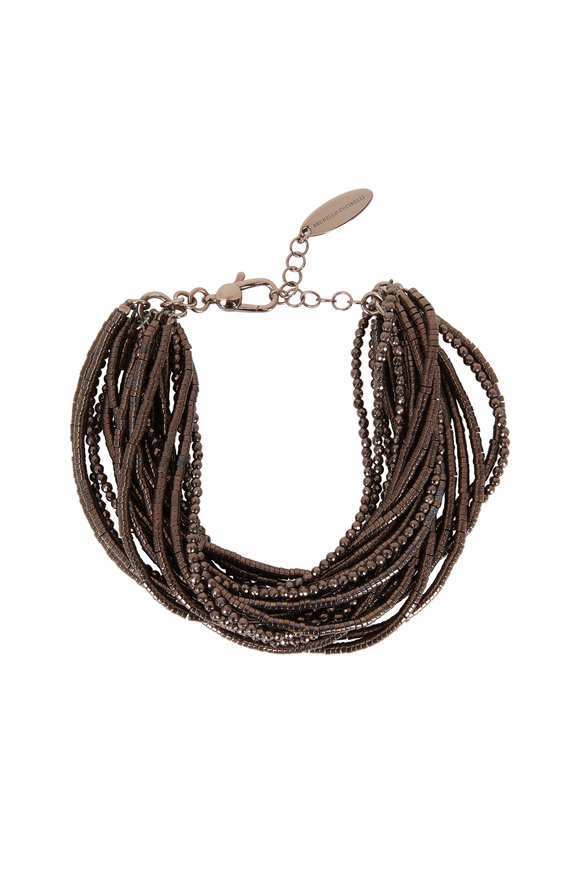 Brunello Cucinelli Brown Hematite Multi Layer Bracelet